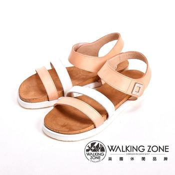 WALKING ZONE 寬版線條涼鞋女鞋-橘(另有黃)