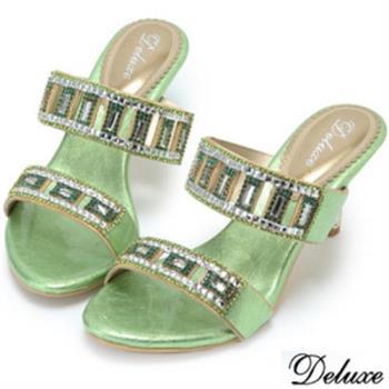 【Deluxe】全真皮水鑽質感閃亮翡翠涼鞋(綠)-504-2