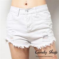 Candy小舖 夏日海灘休閒風 刷破抽鬚短褲 ^#40 白 ^#47 黑 ^#47 黃 ^