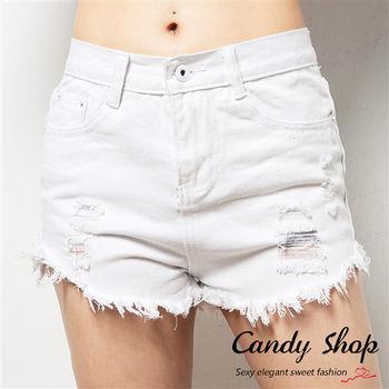 Candy小舖 夏日海灘休閒風 刷破抽鬚短褲 ( 白 / 黑 / 黃 ) 3色選