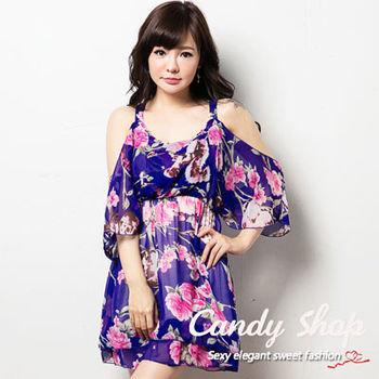 Candy小舖 波西迷雅露肩設計海灘短洋裝 ( 陶坯黃 / 藍 / 紅 ) 3色選