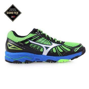 【MIZUNO】MUJIN 3G-TX男慢跑鞋- 越野 GORE-TEX 黑綠藍