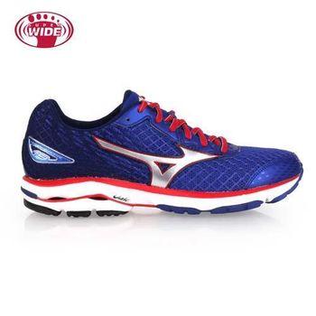 【MIZUNO】WAVE RIDER 19 男慢跑鞋-2E- 寬楦 美津濃 藍紅白