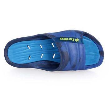 【LOTTO】男迷彩果凍排水拖鞋-游泳 排水 藍