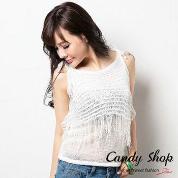 Candy小舖 新品特色造型款 織布流蘇設計肩帶綁帶設計上衣 ( 黑 / 白 / 陶杯黃 / 淺粉 ) 4 色選