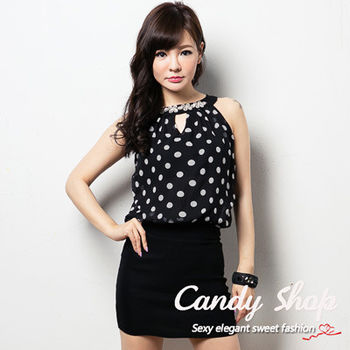Candy小舖 點點雪紡可愛削肩圓領花花短洋裝 ( 黑 / 白 ) 2色選