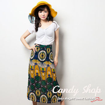 Candy 小舖 兩件式氣質特色花系長裙套裝 - 白色