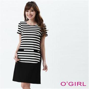 【OGIRL】優雅條紋質感洋裝