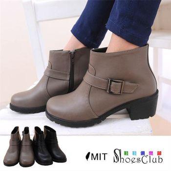 【ShoesClub】【023-A9358】台灣製MIT 個性釦環簡約拉鍊機車騎士短靴.2色 黑/咖啡