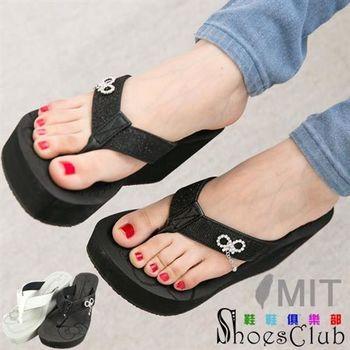 【ShoesClub】 【021-1118】蝴蝶結水鑽防滑厚底楔型人字夾腳拖鞋.2色 黑/灰