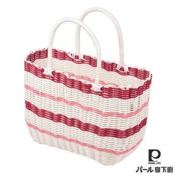 【日本Pearl Life】編織野餐籃(S)-紅
