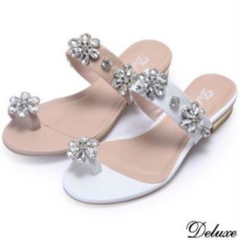 【Deluxe】全真皮花朵水鑽質感涼鞋(粉★白)