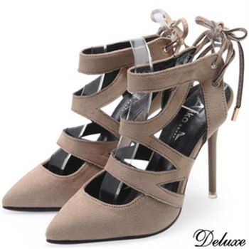 【Deluxe】全麂皮芭蕾女伶繫踝尖頭高跟鞋(棕)