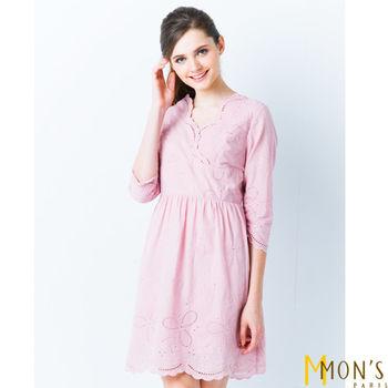 MON'S優雅緹花純棉精繡洋裝