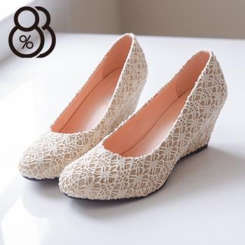 【88%】蕾絲質感楔型舒適柔軟 楔型鞋 6CM包鞋 4色