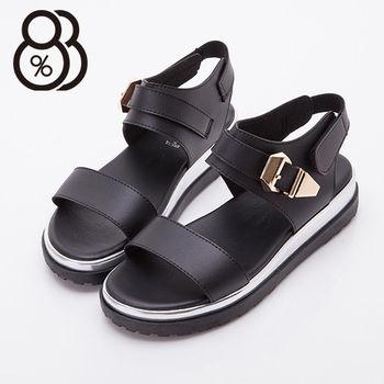 【88%】皮革金屬扣環厚底涼鞋(黑色)