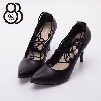 【88%】台灣製繩繞踝綁帶羅馬風8CM細高跟鞋(黑色)