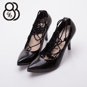 【88%】台灣製繩繞踝綁帶羅馬風8CM細高跟鞋(黑鏡)