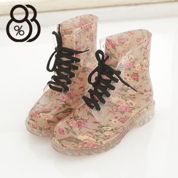 【88%】韓版碎花透明果凍雨鞋 馬汀鞋 馬丁鞋 8色