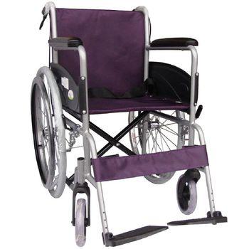 【海夫健康生活館】杏華 鋁合金 24吋後輪 輕型輪椅 (藍/紫)