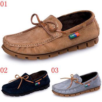 (預購)【CARTELO卡帝樂鱷魚】C9003300775男鞋真皮鞋子英倫潮鞋加絨保暖豆豆鞋男士休閒棉鞋(JHS杰恆社)