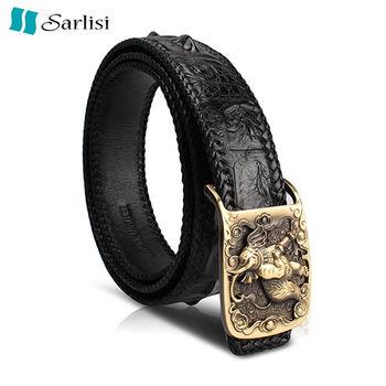 【Sarlisi】尊爵男士鱷魚皮單排骨編織皮帶(2款皮帶頭可選)
