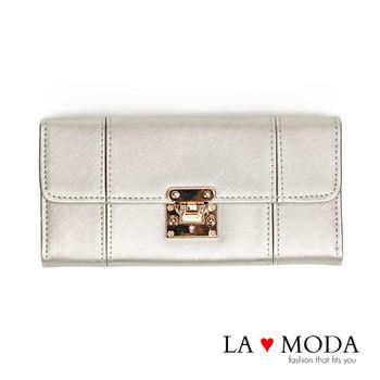 La Moda 設計感滿點特殊翻釦防刮十字紋大容量手機包長夾 (銀灰)