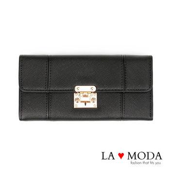 La Moda 設計感滿點特殊翻釦防刮十字紋大容量手機包長夾 (黑)