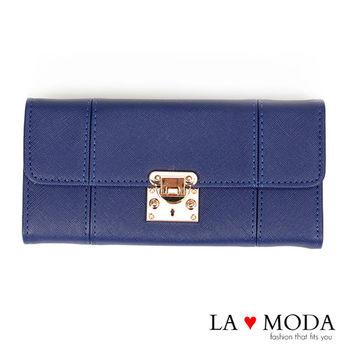 La Moda 設計感滿點特殊翻釦防刮十字紋大容量手機包長夾 (深藍)