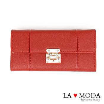 La Moda 設計感滿點特殊翻釦防刮十字紋大容量手機包長夾 (紅)
