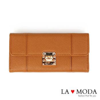 La Moda 設計感滿點特殊翻釦防刮十字紋大容量手機包長夾 (咖啡)