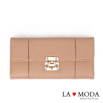 La Moda 設計感滿點特殊翻釦防刮十字紋大容量手機包長夾 (杏)