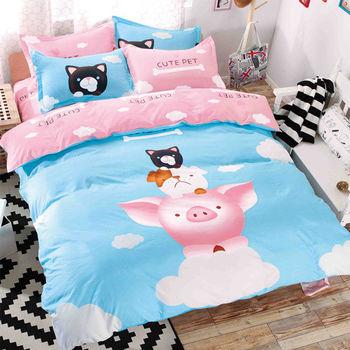 【原創本色】小豬伙伴 舒柔棉加大四件式兩用被床包組