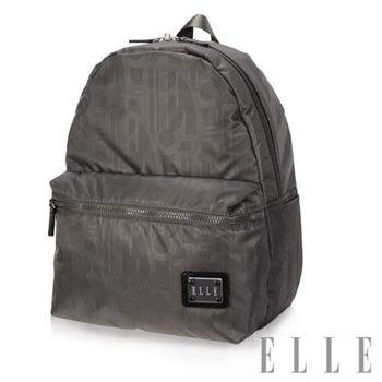 【ELLE】法式優雅休閒 輕細尼龍防潑水 IPAD/10吋平板機能後背包(優雅灰 EL83828-09)