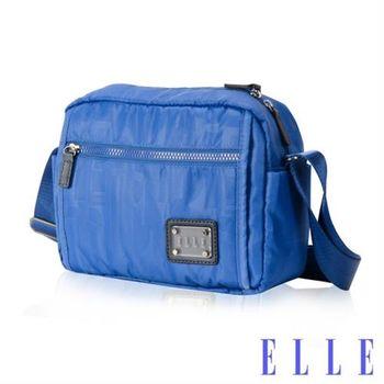 【ELLE】法式優雅休閒輕細尼龍防潑水小方包橫式IPAD置物側背包(海藍色 EL83456-42)