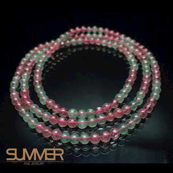 【SUMMER寶石】天然雙色草莓晶項鍊(可繞四圈當手鍊-GH-6)