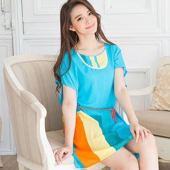 Wonderland ST916混搭美學連袖嫘縈居家洋裝(藍)