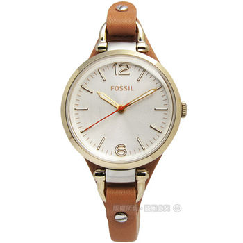 FOSSIL Georgia 輕巧別緻皮革腕錶 咖啡橘色 金色 32mm / ES3565