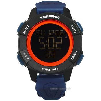 PUMA / PU911271002 / 帥氣剛強運動電子帆布腕錶 黑橙x黑框x深藍 47mm