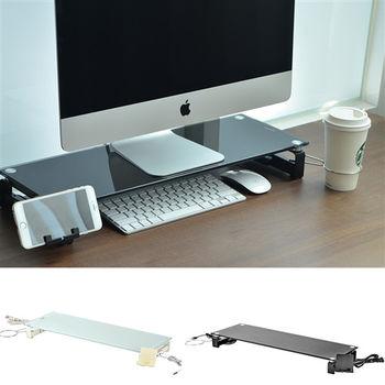 日本MAKINOU 5合一8mm強化玻璃螢幕架/桌上置物架(2色)