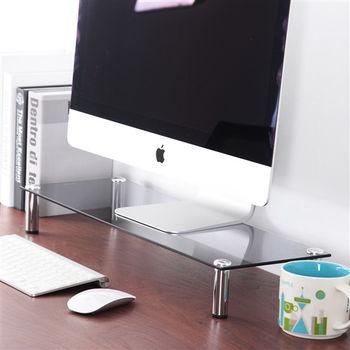 日本MAKINOU 耐重款5mm清透灰玻璃螢幕桌上架/置物架
