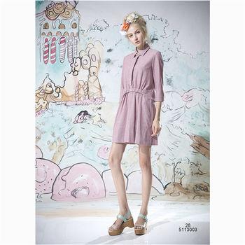 【女匠 Plombiere】氣質OL直條紋襯衫式洋裝