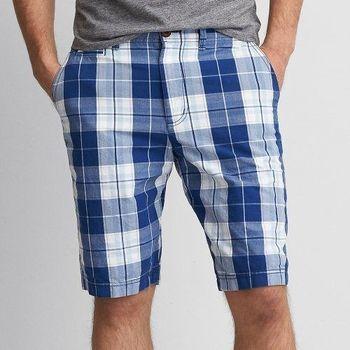 【American Eagle】2016時尚修身雙藍色格子舒適短褲(預購)