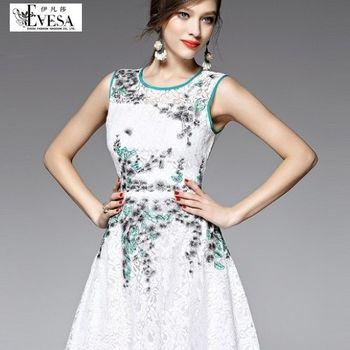 預購【伊凡莎時尚】法式清新減龄蕾絲刺繡公主洋裝(S-L)