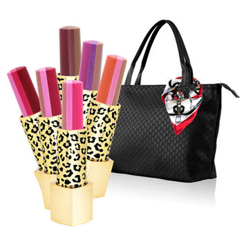 【ARONA】韓系三色漸層唇膏7件組-限量豹紋(口紅x6+時尚托特包隨機款)