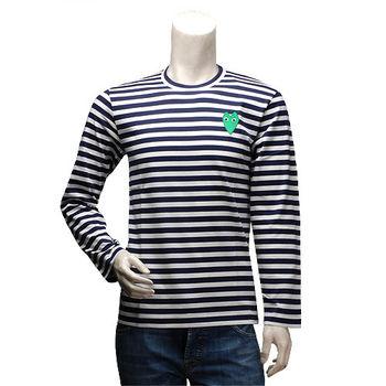 PLAY 經典川久保玲綠色愛心刺繡條紋圓領長袖上衣(男-深藍)