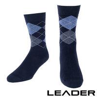 LEADER 除臭去味 紳士菱格中筒襪 #40 藍底藍格 #41