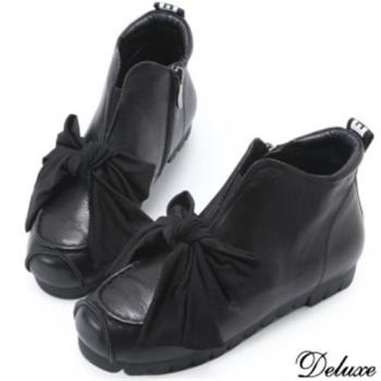 【Deluxe】全真皮俏皮帥氣蝴蝶綁帶厚底休閒鞋(黑)