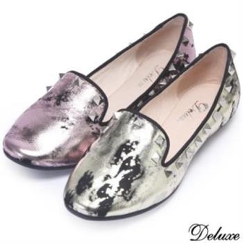 【Deluxe】全真皮渲染金屬色鉚釘平底鞋(金★粉)