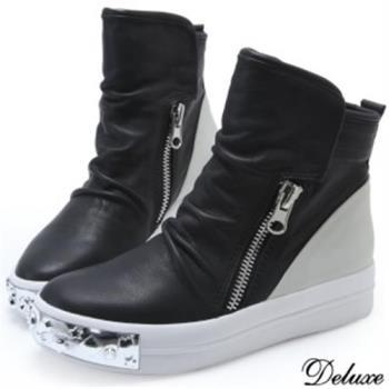 【Deluxe】全真皮拼接雙色鉚釘厚底鬆糕鞋(黑)